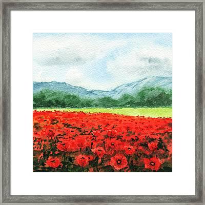 Red Poppies Field Framed Print by Irina Sztukowski