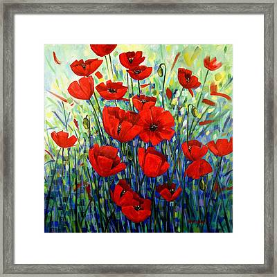 Red Poppies Framed Print by Georgia  Mansur