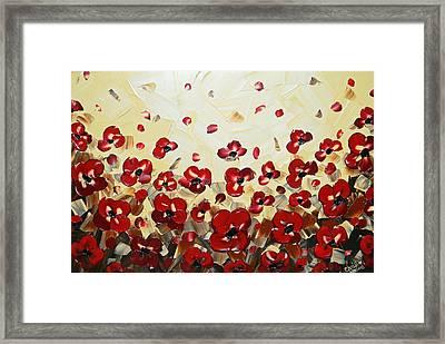 Red Poppy Dance Framed Print by Christine Krainock