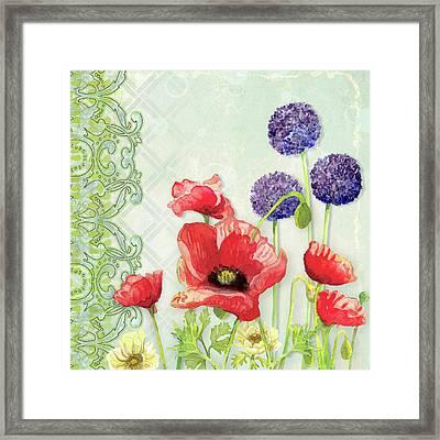 Red Poppy Purple Allium IIi - Retro Modern Patterns Framed Print by Audrey Jeanne Roberts