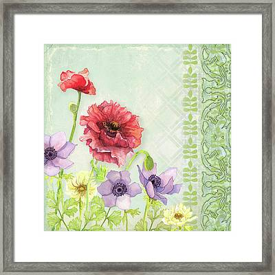 Red Poppy Purple Anenomes Wind Flowers Iv - Retro Modern Patterns Framed Print by Audrey Jeanne Roberts