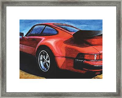 Red Porsche 930 Turbo Framed Print by Rod Seel