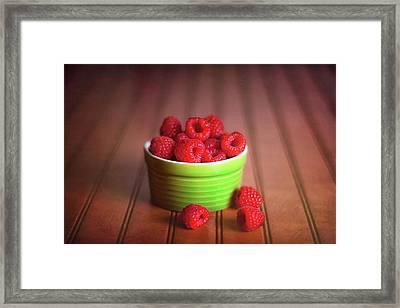Red Raspberries Still Life Framed Print by Tom Mc Nemar