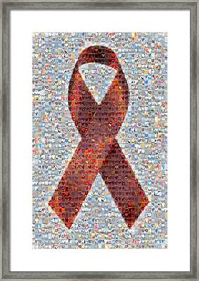 Red Ribbon To Benefit Cap Framed Print by Boy Sees Hearts