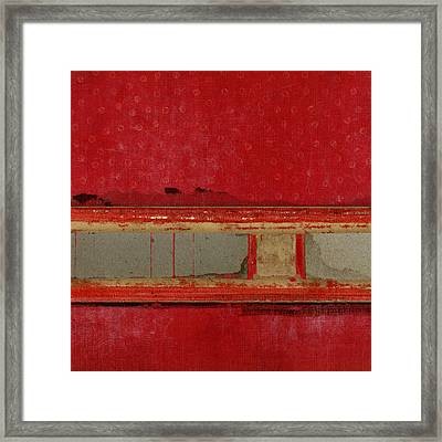 Red Riley Collage Square 1 Framed Print by Carol Leigh