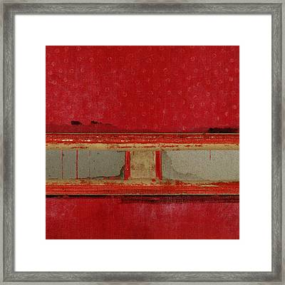 Red Riley Collage Square 2 Framed Print by Carol Leigh