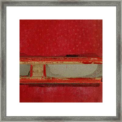 Red Riley Collage Square 3 Framed Print by Carol Leigh