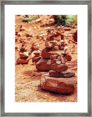 Red Rock Piles Marking Vortex In Sedona Framed Print by Susan Schmitz