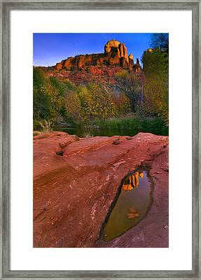 Red Rock Reflection Framed Print by Mike  Dawson