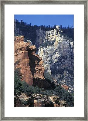 Red Rocks In Oak Creek Canyon At Slide Framed Print by Rich Reid