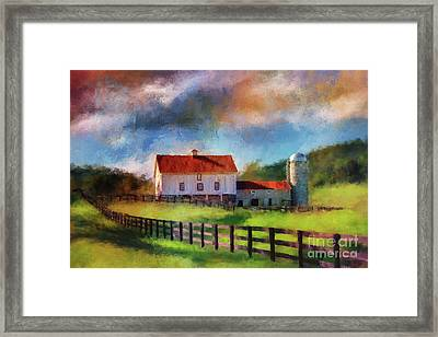 Red Roof Barn Framed Print by Lois Bryan
