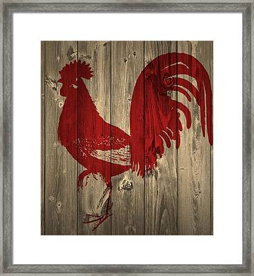 Red Rooster Barn Door Framed Print by Dan Sproul