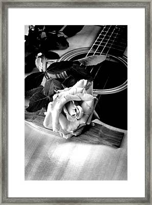 Red Rose Acoustic Guitar Framed Print by M K  Miller