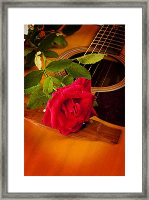 Red Rose Natural Acoustic Guitar Framed Print by M K  Miller