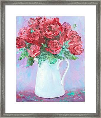 Red Roses In White Jug Framed Print by Jan Matson