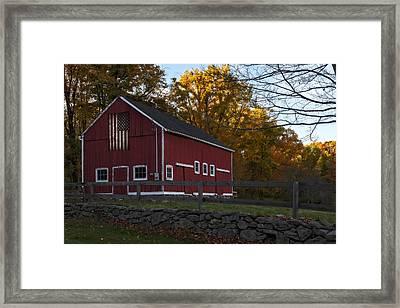 Red Rustic Barn Framed Print by Susan Candelario