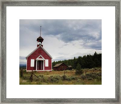Red Schoolhouse Framed Print by Alison Sherrow I AgedPage