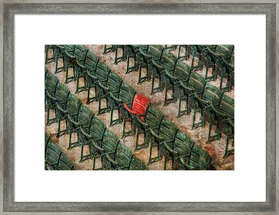 Red Seat At Fenway Park - Boston Framed Print by Joann Vitali