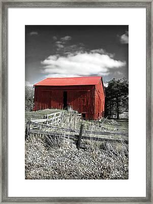 Red Shack Landscape Framed Print by Joan  Minchak