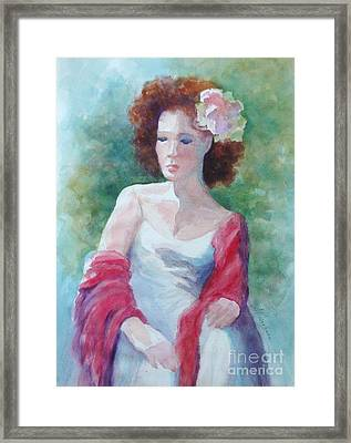Red Shawl Framed Print by Marilyn Jacobson
