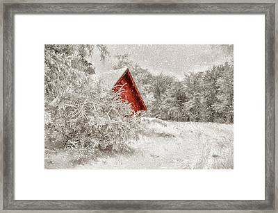 Red Shed In The Snow Framed Print by Lois Bryan