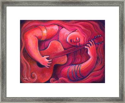 Red Sings The Blues Painting 43 Framed Print by Angela Treat Lyon