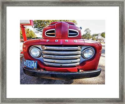 Red Smiling Ford Framed Print by Michael Thomas