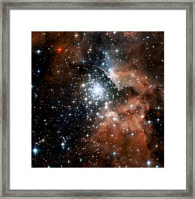 Red Smoke Star Cluster Framed Print by The  Vault - Jennifer Rondinelli Reilly