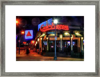 Red Sox Art - Cask N Flagon - Citgo Sign Framed Print by Joann Vitali