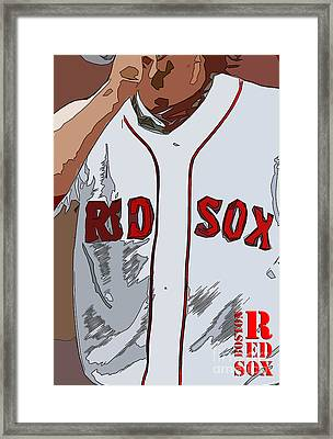 Red Sox Baseball Team White And Red Framed Print by Pablo Franchi