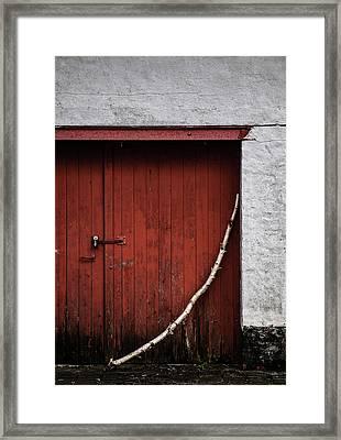 Red Square Framed Print by Odd Jeppesen