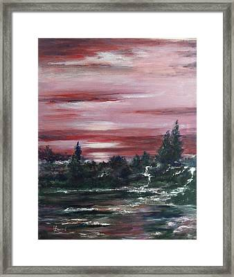 Red Sun Set  Framed Print by Laila Awad Jamaleldin