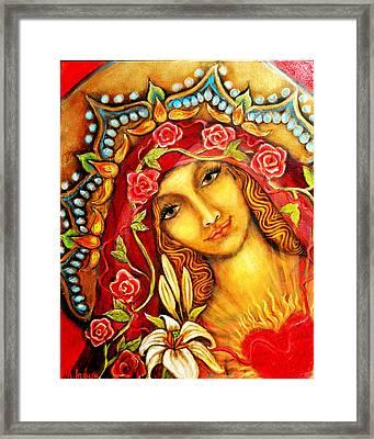 Red Thread Madonna Framed Print by Molly Indura