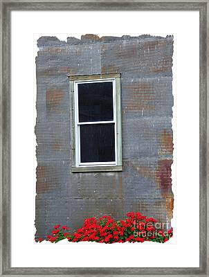 Red Tin Window Framed Print by Lori Mellen-Pagliaro