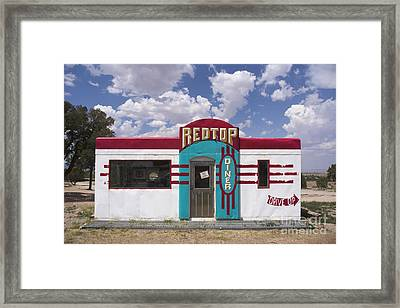 Red Top Diner On Route 66 Framed Print by Priscilla Burgers