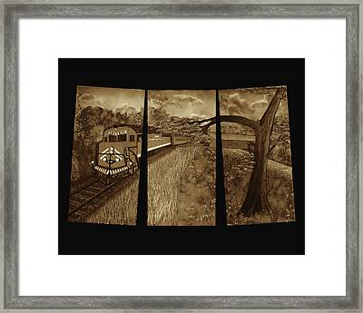 Red Train Passage - Sepia Framed Print by Claude Beaulac