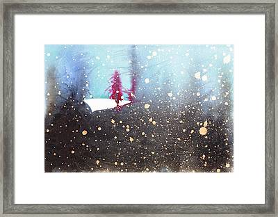 Red Trees In The Snow Framed Print by Marian Fannon Christian