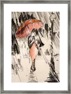 Red Umbrella Framed Print by Cheryl Emerson Adams
