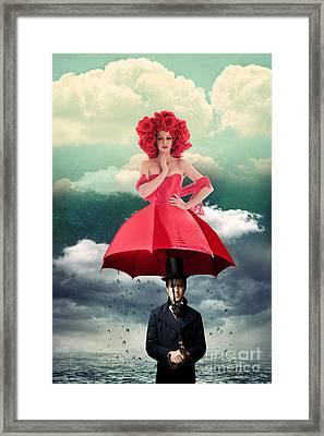 Red Umbrella Framed Print by Juli Scalzi