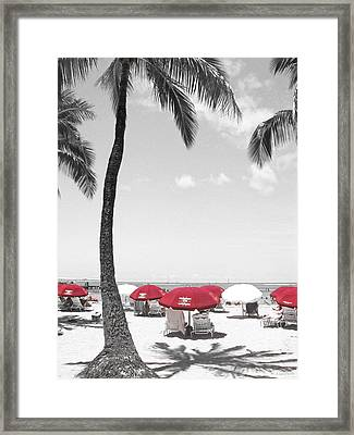 Red Umbrellas On Waikiki Beach Hawaii Framed Print by Kerri Ligatich