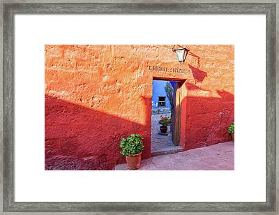 Red Wall In Santa Catalina Monastery Framed Print by Jess Kraft