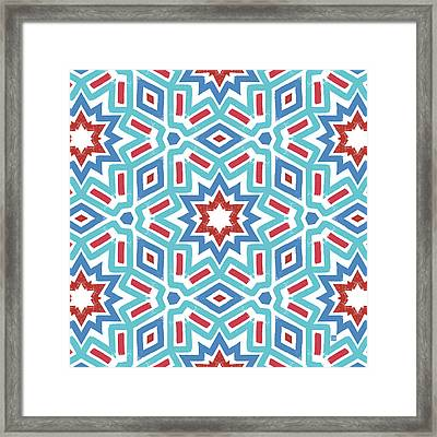 Red White And Blue Fireworks Pattern- Art By Linda Woods Framed Print by Linda Woods