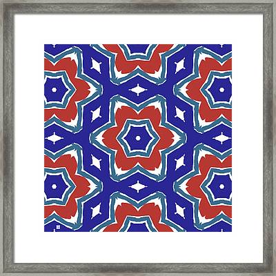 Red White And Blue Star Flowers 1- Pattern Art By Linda Woods Framed Print by Linda Woods