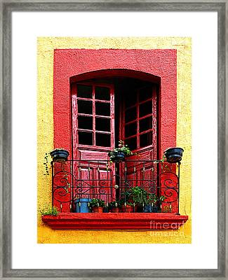 Red Window Framed Print by Mexicolors Art Photography