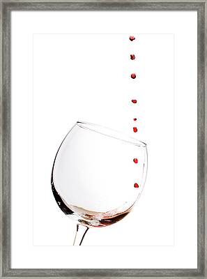 Red Wine Drops Into Wineglass Framed Print by Dustin K Ryan
