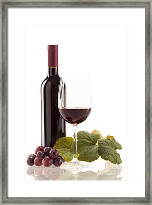 Red Wine In Glass With Fruit Framed Print by Wolfgang Steiner