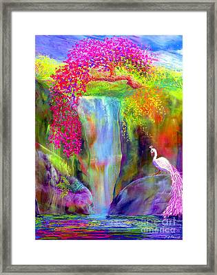 Waterfall And White Peacock, Redbud Falls Framed Print by Jane Small