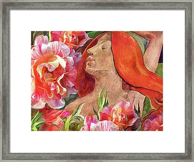 Redheaded Woman With Roses Framed Print by Carol Cavalaris