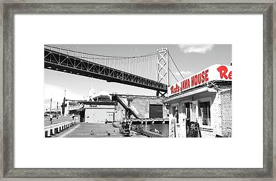 Reds Java House And The Bay Bridge In San Francisco Embarcadero Black And White And Red Panoramic Framed Print by Wingsdomain Art and Photography