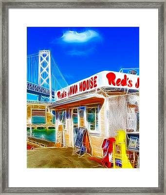 Red's Java House Electrified Framed Print by Wingsdomain Art and Photography